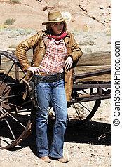 blond cowgirl - Portrait of blond cowgirl. Western movie...