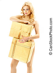Blond curly-haired woman holding huge gifts