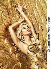blond, czuciowy, dama, leżący, na, przedimek określony przed rzeczownikami, złoty uskrzydla