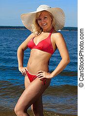 blond, dans, rouges, bikini