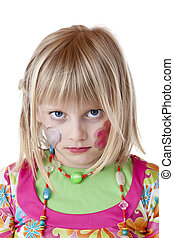 Blond disguised girl with painted cheeks looks serious