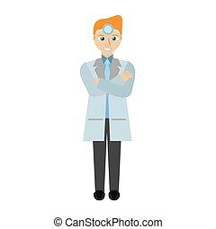 blond doctor man wearing head mirror