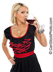 Blond drinking red wine