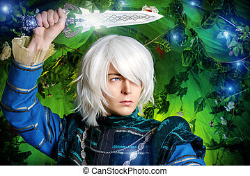 blond elf - Beautiful blond elf with a dagger in his hand in...