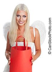 blond, engelchen, mit, einkaufstüte