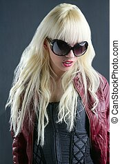 blond fashion girl portrait red lips gray background