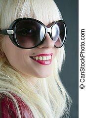 blond fashion girl portrait red lips macro closeup smile