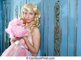 blond fashion princess and vintage flowers dress