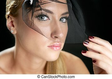 Blond fashion woman portrait with tulle