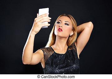 Blond fashion woman smartphone selfie