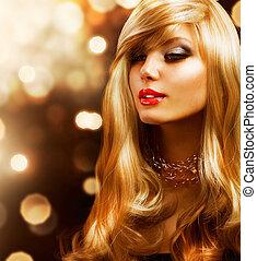 blond, fason, girl., blondynka, hair., tło złotego