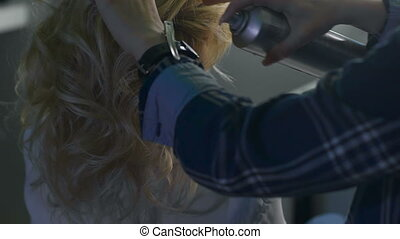 Blond female in hair salon. Hairdresser on background....