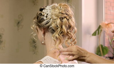 Blond Female In Hair Salon. Work hairdressers