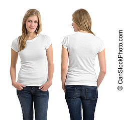 Blond female with blank white shirt