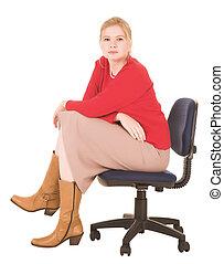 blond, femme affaires
