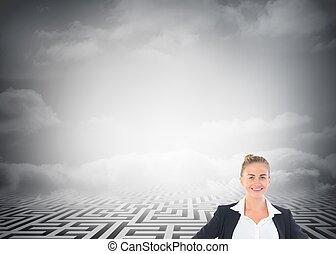blond, femme affaires tient, à, mains hanches