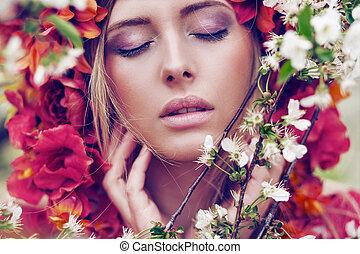 blond, femme, fleurs, sensuelles