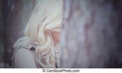 blond, femme, forêt, joli