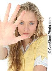 blond, femme, main