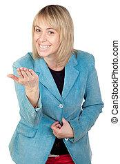 blond, femme, menacer
