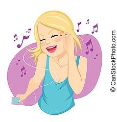 blond, femme, musique écouter
