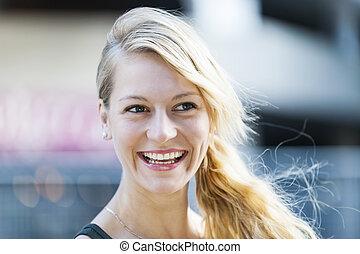 blond, femme, rire