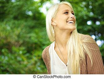 blond, femme, rire, vivacious, jeune