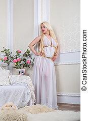 blond, femme, robe, blanc, luxueux