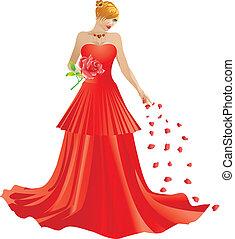 blond, femme, robe, rouges