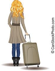 blond, femme, valise