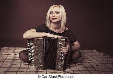 blond, frau, akkordeon