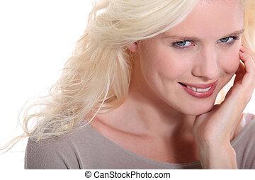 blond, frau