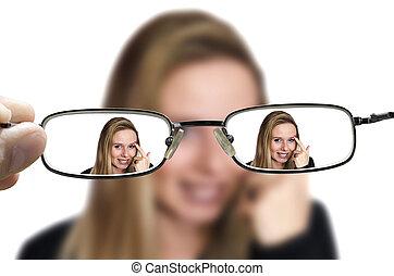 blond, frau, durch, brille