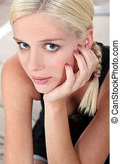 blond, frau, hübsch