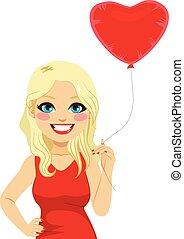 blond, frau, herz, balloon