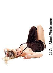 blond, frau, liegen boden
