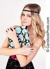 blond, frau, mit, einkaufstüte