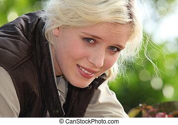blond, frau, muede