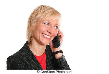 blond, frau telefon
