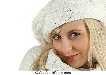 blond, frau, wolle hut