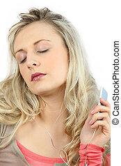 blond, frau, zuhören, musik