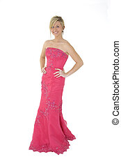 Blond Girl - Caucasian teenager wearing a prom bress...