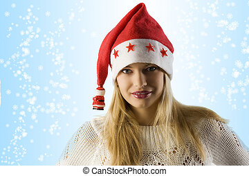 blond girl christmas hat