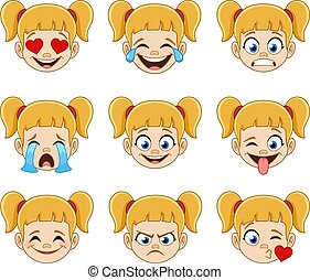 Blond girl face with blue eyes emoji expressions