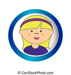 blond girl face with short hair and ribbon in circular frame