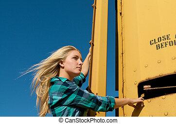 Blond Girl Freight Train