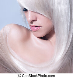 Blond Girl. Healthy Long Blond Hair.