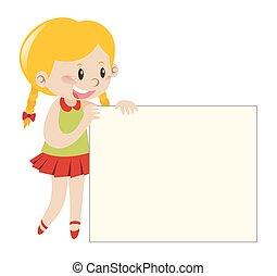 Blond girl holding blank sign