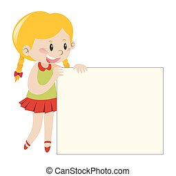 Blond girl holding blank sign