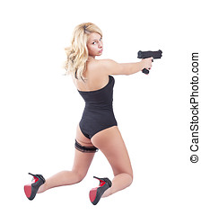 Blond girl holding gun